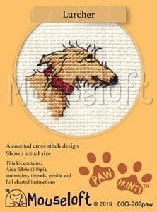 Mouseloft Lurcher Paw Prints cross stitch kit